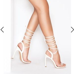 Simmi Ella white clear lace up heel